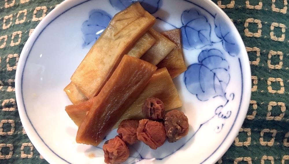 雑魚と大根菜の炒め物